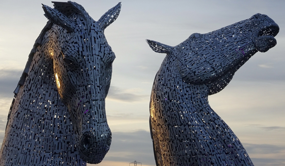 Two horse-head metal structures